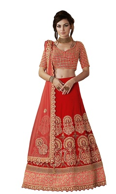 Red Tusser Silk Wedding Wear Lehenga Choli