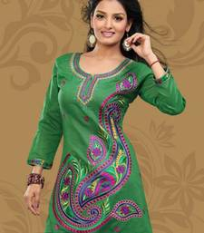 Green printed cotton poly short kurtis