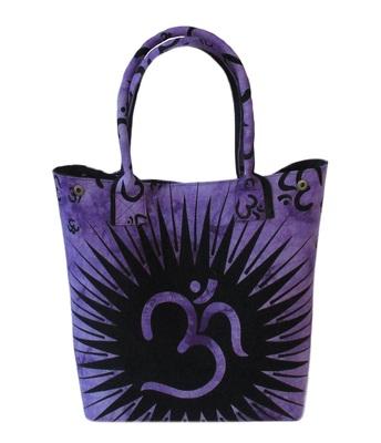 New Indian Purple Om Printed Tie Dye Mandala Women's Shoping Shoulder Handbag Throw