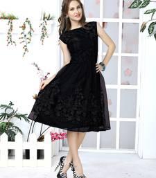 Black embroidered net kurti