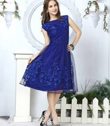Navy blue embroidered net kurti