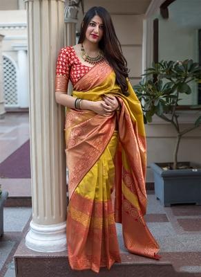 c724b237b4a7f3 Mustard woven banarasi art silk saree with blouse - Monjolika - 2784262