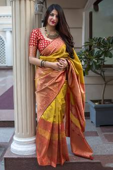 add34c05012a20 Mustard woven banarasi art silk saree with blouse