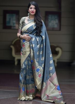 c2d8148493113a Grey woven banarasi art silk saree with blouse - Monjolika - 2784264
