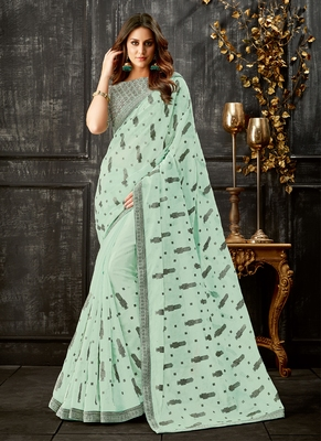 Sea green printed tissue saree with blouse