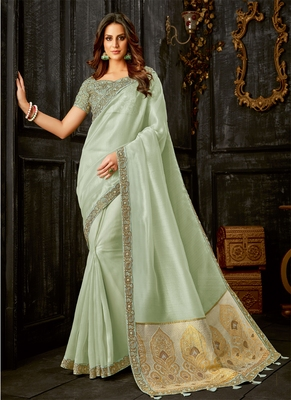 Light olive embroidered tissue saree with blouse