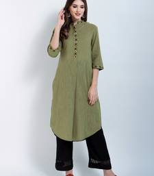 Green Embroidered Cotton Embroidered Kurtis