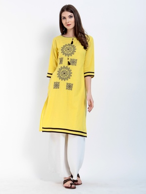 Yellow Embroidered Cotton Embroidered Kurtis