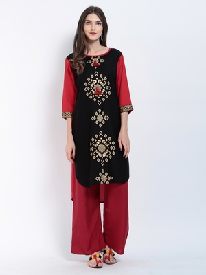 Red Printed Rayon Cotton Kurtis