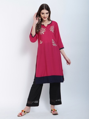 Pink embroidered cotton embroidered kurtis