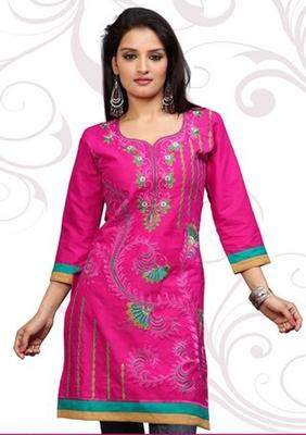 Pink printed cotton short kurtis