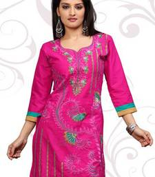 Pink printed cotton short kurtis