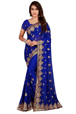 Navy Blue embroidered pure chiffon saree with blouse