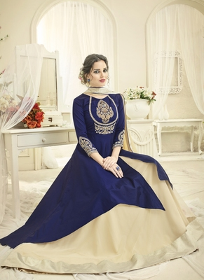 Royal Blue Silk Blend Pakistani Salwar Kameez
