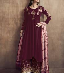 Maroon Silk Blend Readymade Suits