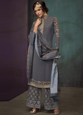 Dark Grey Silk Blend Readymade Suits