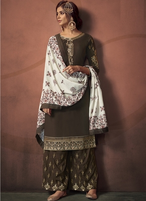 Brown Silk Blend Readymade Suits