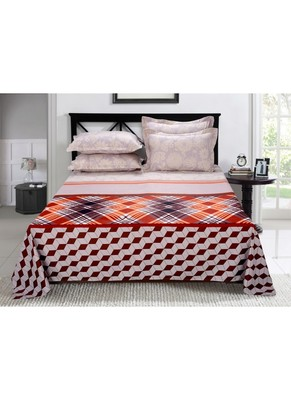 PolyCotton Double Bedsheet with 2 Pillow covers - Maroon n Orange Geometric n Floral Mix n Match Print