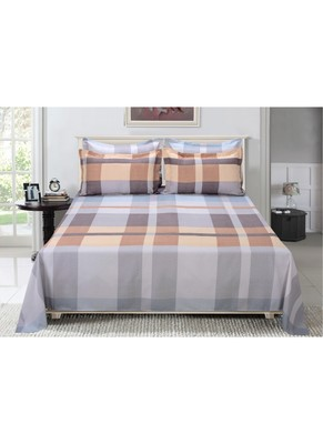 1800HomeLine 180TC Luxurious PolyCotton Double Bedsheet with 2 Pillow covers - Maroon n Orange Geometric Pattern
