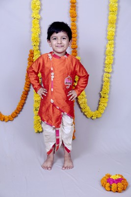 Orange plain cotton silk boys dhoti kurta