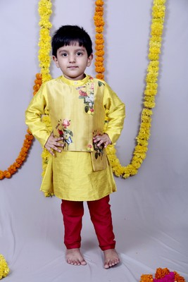 Yellow printed cotton silk boys kurta pyjama