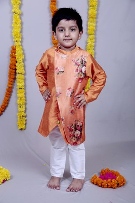 Orange printed cotton silk boys kurta pyjama