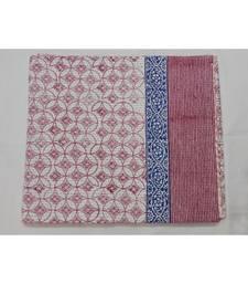 Buy Indian Handblock Sanganeri Quilt Kantha Print Print Bedspread Cotton Blanket Queen Size quilt online