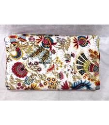 Kantha  Quilt Indian Handmade Mukut White  Print Bedspread Cotton Blanket Queen Size