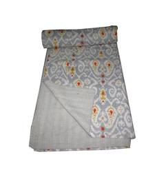 Buy Silver Grey Bombey Ikat Print Printed Floral Kantha  Quilt Indian Handmade  Print Bedspread Cotton Blanket Queen Size quilt online