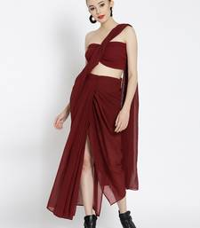 38ed1efd424 Maroon Ready To Wear Saree Poly Georgette saree