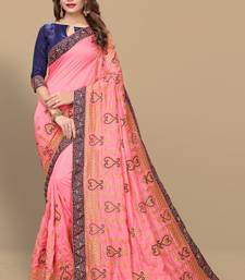 2df023d080297 pink embroidered silk saree with blouse