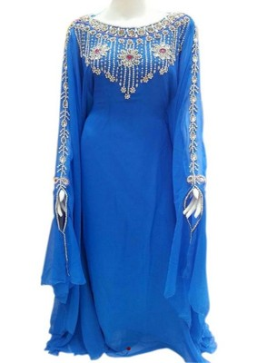 Blue georgette embroidered zari work islamic kaftans