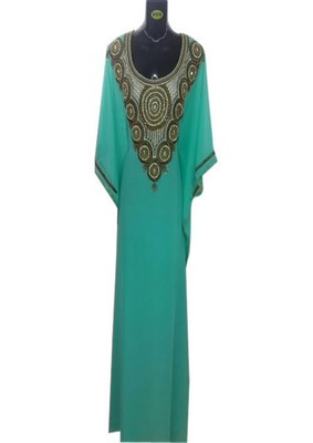 Sea green georgette embroidered zari work islamic kaftans