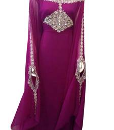 Wine georgette embroidered zari work islamic kaftans