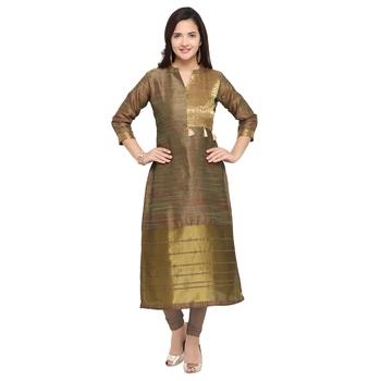 Green woven cotton kurti