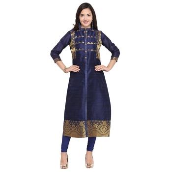 Navy-blue woven cotton kurti