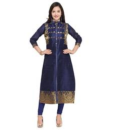 Navy-blue woven cotton kurti