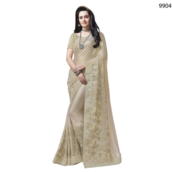 White Embroidered Lycra Saree With Blouse