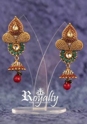 Royalty Gemstone Kundan Design Earrings