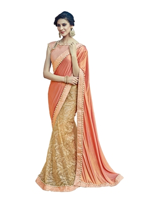 Peach Embroidered Lycra Saree With Blouse