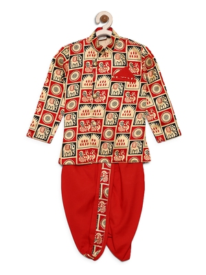Red printed satin boys-dhoti-kurta