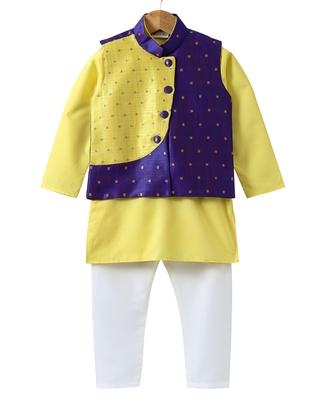 Yellow woven art silk boys-kurta-pyjama