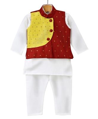 White woven art silk boys-kurta-pyjama