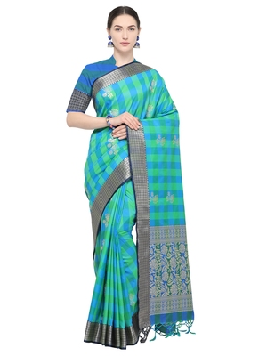 Green woven katan silk saree with blouse