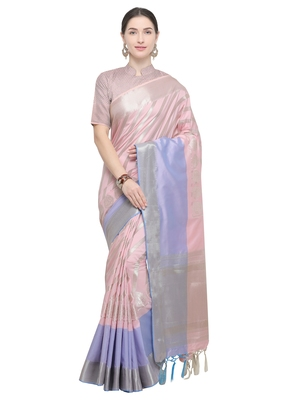 Baby pink woven katan silk saree with blouse
