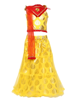 Yellow Printed Net Stitched Lehenga