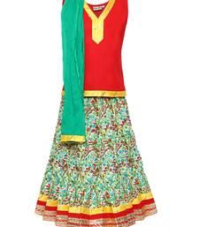 Buy Green printed cotton stitched lehenga kids-lehenga-choli online