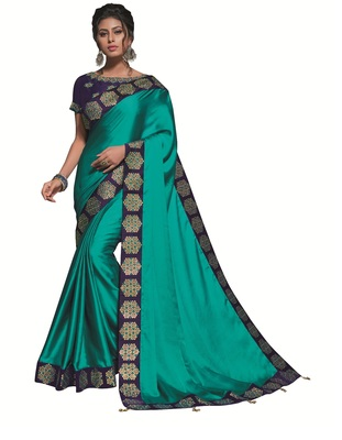 Teal Embroidered Satin Saree With Blouse