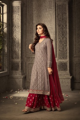 Maroon embroidered faux georgette kameez  with palazzo