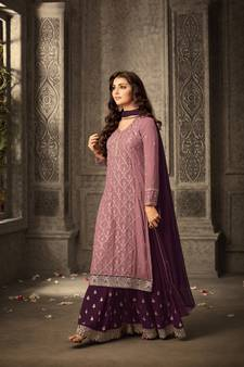 641bb443937 Purple embroidered faux georgette salwar with dupatta